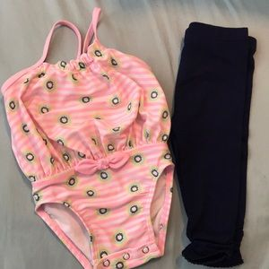 NWOT Swimsuit and leggings combo 6-9 month